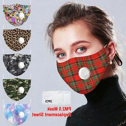 1-5X Reusable Mask With Breathing Valve PM2.5 Face Mask Filt