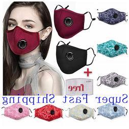 100% Cotton Cloth Face Mask Air Valve Reusable Breathable Co