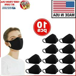 10PCS WASHABLE COTTON FACE MASK REUSABLE, BLACK, MADE IN USA
