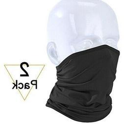2 PACK Black Multi-use Scarf Bandana Head Face Mask Neck Gai