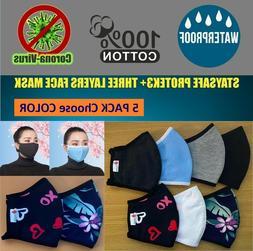 02 PCs - 100% Cotton Three Layer Reusable Cloth Face Mask