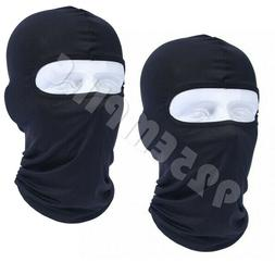2 PCS Men's Black Balaclava Full Face Mask 100% Cotton Bike