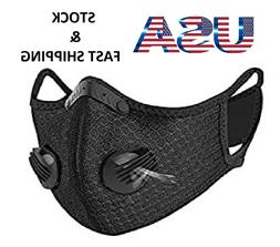 2 x Black Cycle Sports Face Mask Washable Breathing Valve 2