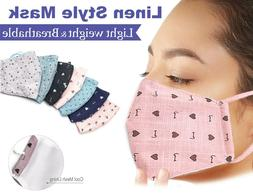 2Packs-Linen Style Face Mask Cute Pattern Reusable Washable