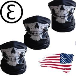 3 Ghost Biker Skull Hood Face Mask Motorcycle Ski Balaclava