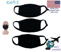 3 Pack  Double Layer Cotton Cloth Face Mask Black  Washable