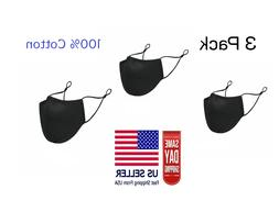 3 pack face mask three layer black