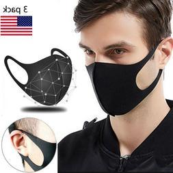 3 PCs Washable Black Fashion Masks Reusable Breathable Anti-