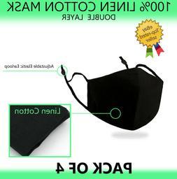 4PCS 100% Linen Cotton Face Mask Double Layer Washable Reusa