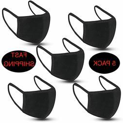 5-Pack Black Unisex Face Mask Reusable Washable Cover Fashio