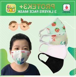 05 PCs - 100% Cotton Three Layer Reusable Cloth Face Mask