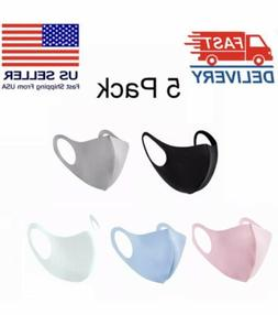 5 PCS Reusable Face Mask Cloth Washable Breathable Adult Uni