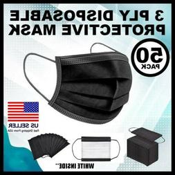 50 PCS BLACK Face Mask Mouth & Nose Protector Respirator Mas