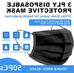 50 pcs black face mask mouth