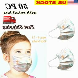 50Pcs/Pack Face Mask For Kids Child Children with retail box