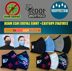 6 COLORFUL Collection-StaySafe 100% Cotton Three Layer Cloth