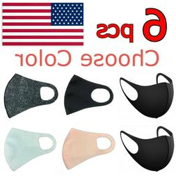 6 PCS Face Mask Reusable Washable Adult Unisex Fashion Color