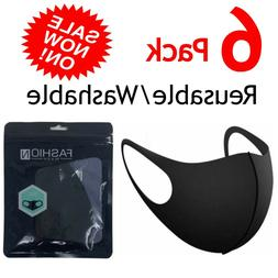 6 PCS Face Mask Reusable Washable Fashion Adult Spandex Blac