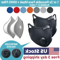 Cycling Face Mask with Activated Carbon Filter Valves Sports