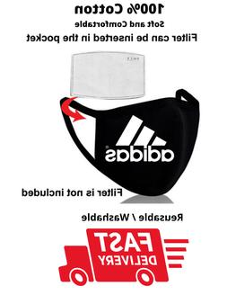 Adidas - BLK Face Mask with filter pocket Reusable Unisex So