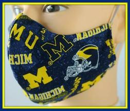 Handmade Adult Face Mask & FREE Filter MICHIGAN WOLVERINES F