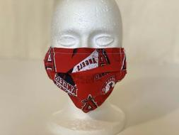 Angels Baseball Fabric Face Mask with Filter Pocket and Adju