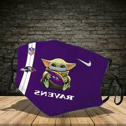 Baby Yoda Baltimore Ravens Cotton face mask Purple