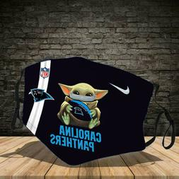 Baby Yoda Carolina Panthers Cotton face mask Black