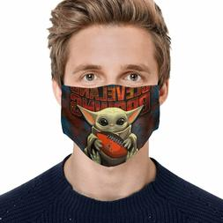 Baby Yoda Hugs Cleveland Browns NFL Face Mask