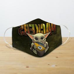 Baby Yoda Hugs Green Bay Packers Reusable Cotton Face Mask U