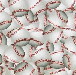 "Baseball Fabric-BTHY Half Yard 18"" x 42""-100% Cotton-Quiltin"