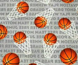 Basketball & Hoops 100% Cotton Fabric FQ  Sports Fat Quarter