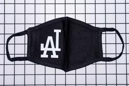 Black 100% Cotton Face Mask White LA Dodgers