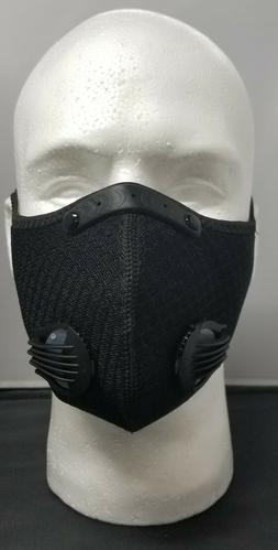 Black Face Mask with Carbon Exhaust Valve and Velcro Strap