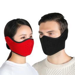 Black Half Face Mask Mouth Cover Fleece Ski Ear Warmer Cycli
