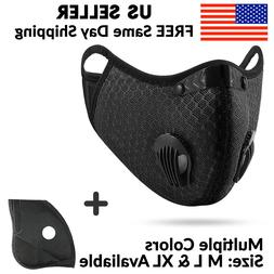 Black Mesh Reusable Dual Air Valve Cycling Sport Face Mask P