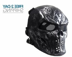 Black Paintball Airsoft Sport Mask Skull Tactical Mask Prote