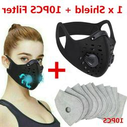 Black Reusable Dual Air Valve Cycling Sport Face Mask Cover