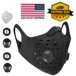 Black Sport Face Mask Reusable Neoprene with Carbon Filter &