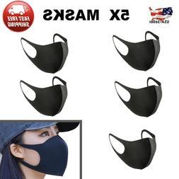 Black Unisex Face Mask Reusable Washable Cover Kids Fashion