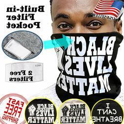 BLM Washable Face Mask Neck Gaiter Filter Pocket - BLACK LIV