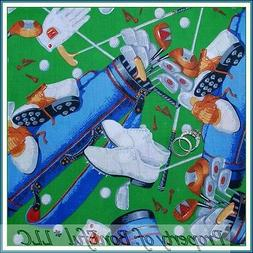 BonEful FABRIC FQ Cotton Quilt Green Golf Accessories Game G