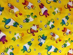Cat Cats Soccer Sports Mask PPE Fabric 1 Yard  100% Cotton