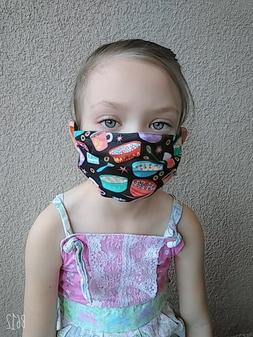 CHOOSE SIZE/DESIGN, FABRIC FACE MASK WITH WIRE BREACH NOSE A