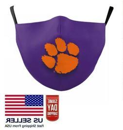 Clemson Tigers Face Mask Adjustable Reusable Paw Print Fast