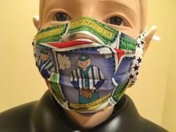 Cloth Toddler Child Face Mask with Filter Pocket, Soccer & B