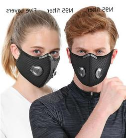 Cotton Face Mask With Breathing Valve Carbon Respirator Filt
