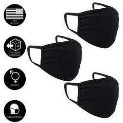 Cotton Face Mask Adult Double Layer Black Reusable Washable