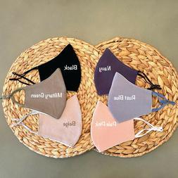 Cotton Face Masks,Face Mask with Filter Pocket,Washable,Reus