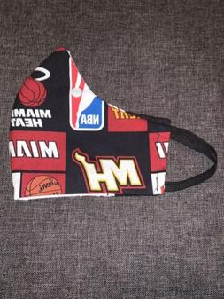 Custom Handmade Face Mask. Miami Heat Team. Adult And Kids S